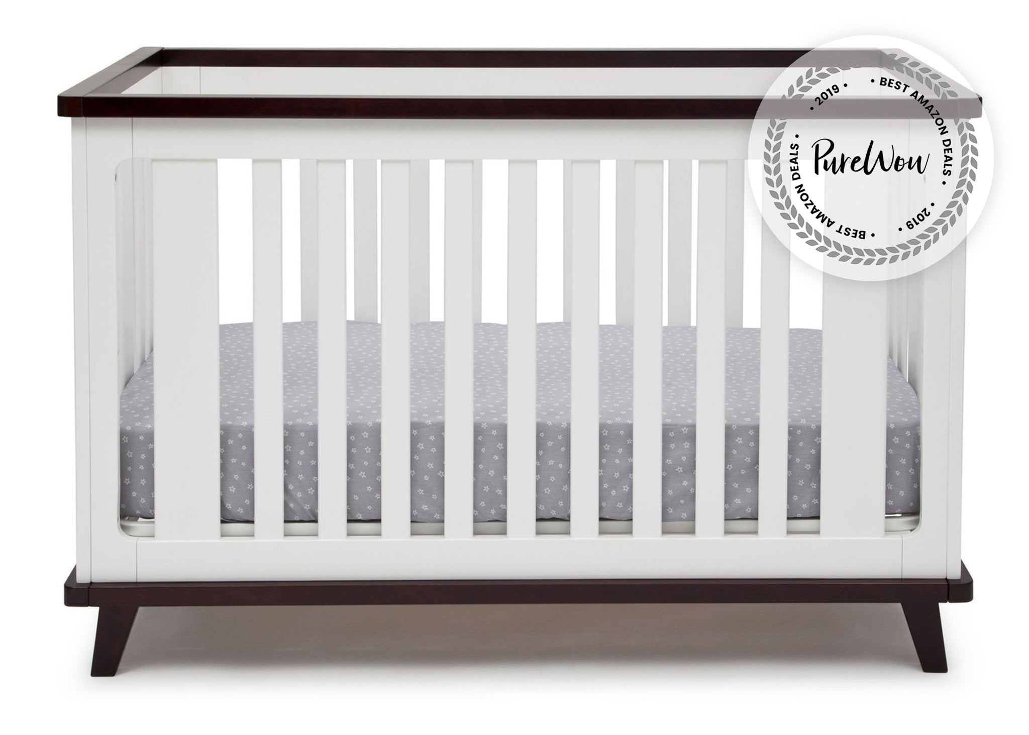Delta Children White with Black Espresso (141) Ava 3-in-1 Crib b3b with badge