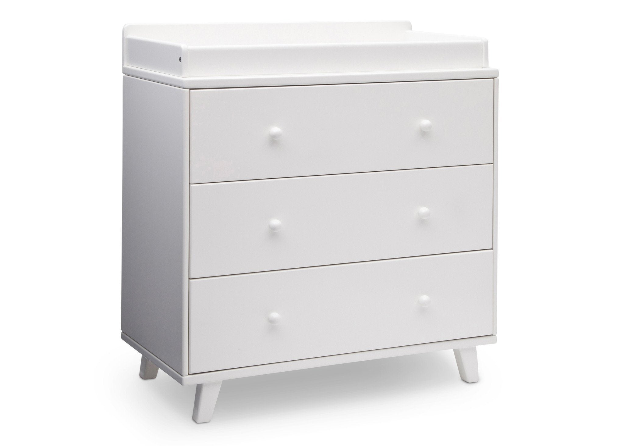 Delta Children White (100) Ava 3 Drawer Dresser with Changing Top, Side View a2a
