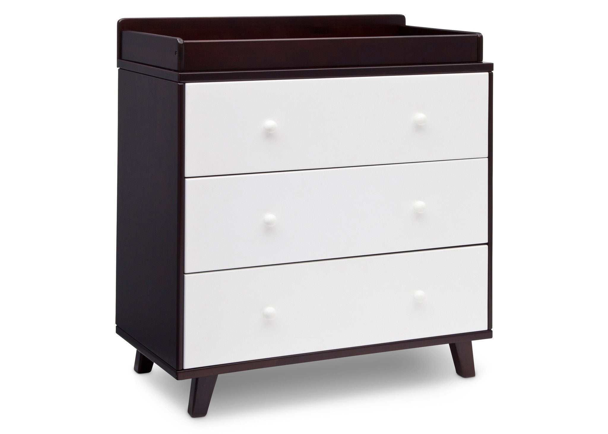 Delta Children Black Espresso with White (918) Ava 3 Drawer Dresser with Changing Top, Side View b2b
