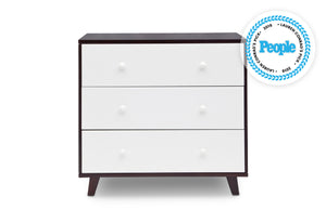 Delta Children Black Espresso with White (918) Ava 3 Drawer Dresser with Changing Top, Front View b1b