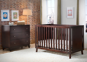 Delta Children Dark Chocolate (207) Manhattan 3-in-1 Crib, room view, b0b