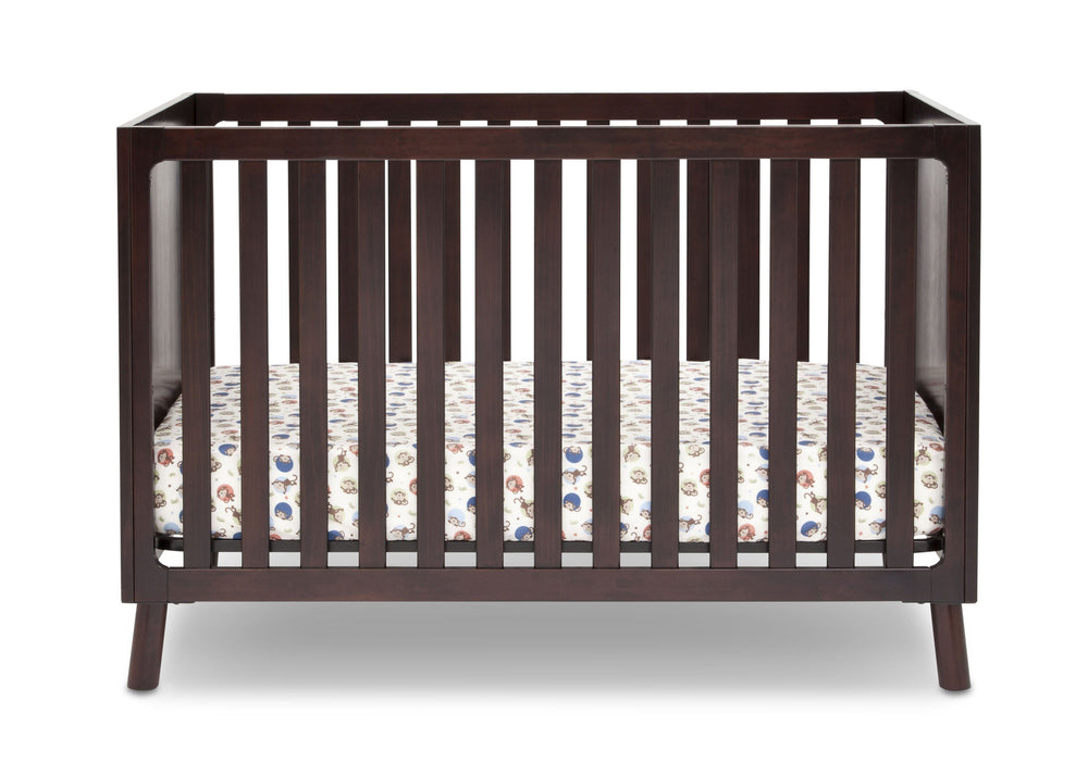 Delta Children Dark Chocolate (207) Manhattan 3-in-1 Crib, front view, b1b