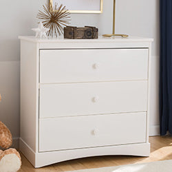 Sutton 3 Drawer Dresser with Changing Top (White) - bundle