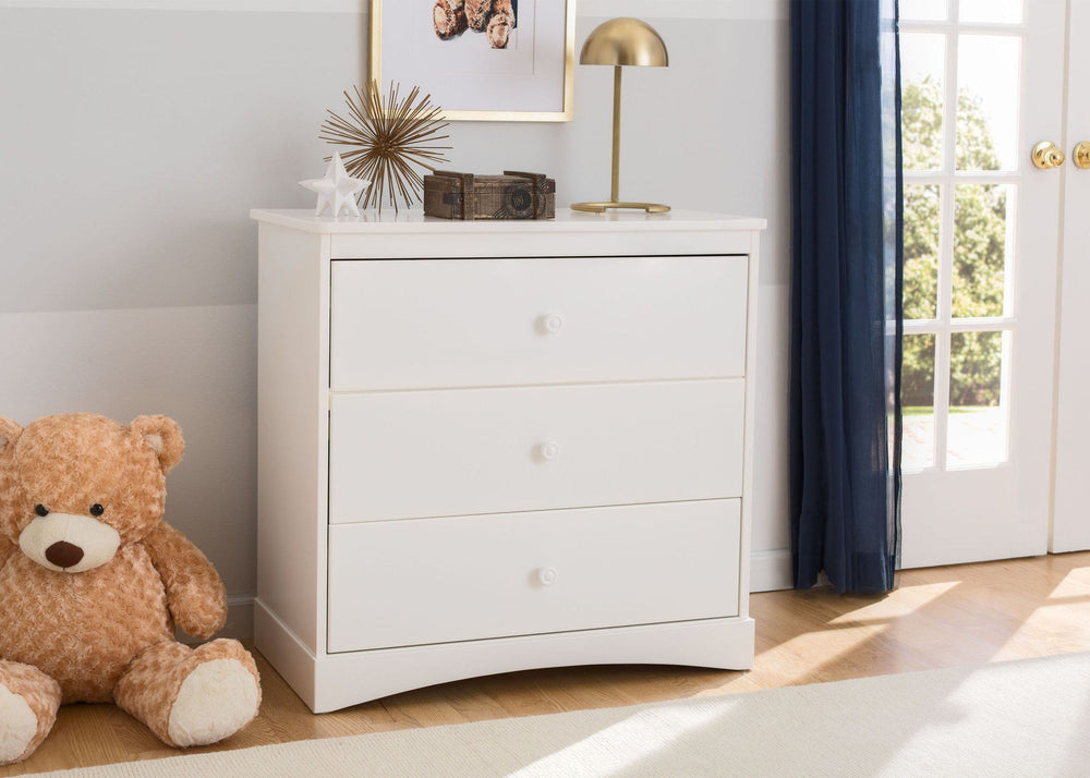 Delta Children White (100) Sutton 3 Drawer Dresser room shot a1a