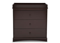 Delta Children Dark Chocolate (207) Sutton 3 Drawer Dresser with Topper Front View b1b