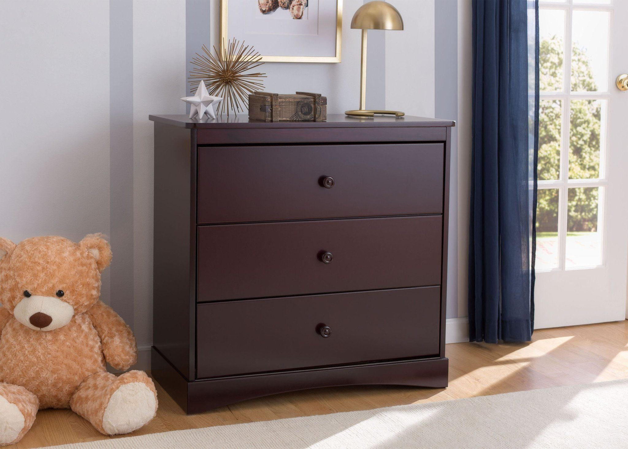 Delta Children Espresso Java (645) Sutton 3 Drawer Dresser room shot c1c