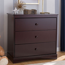 Sutton 3 Drawer Dresser with Changing Top (Espresso Java) - Bundle