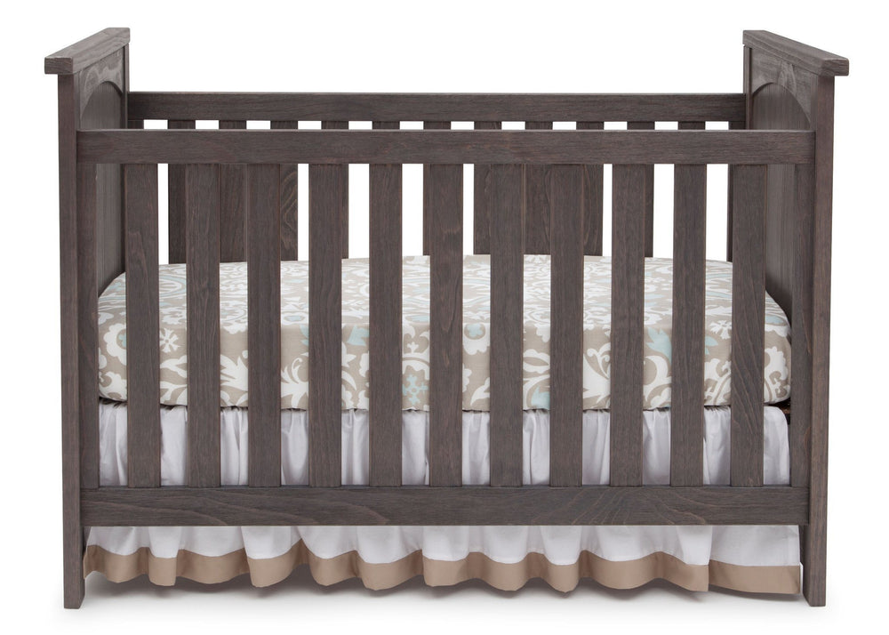 Serta Rustic Grey (084) Northbrook 3-in-1 Crib, Crib Conversion with Front View a2a