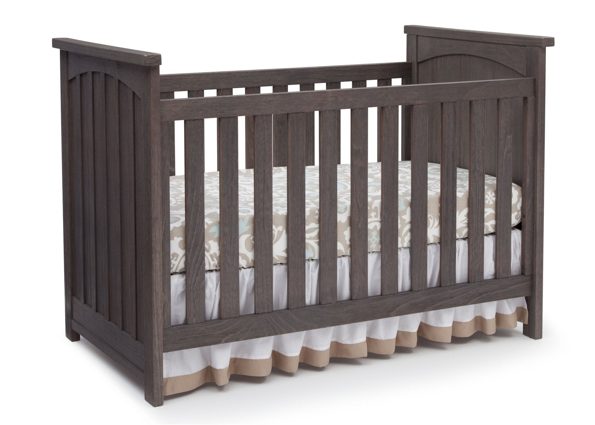 Serta Rustic Grey (084) Northbrook 3-in-1 Crib, Crib Conversion with Side View