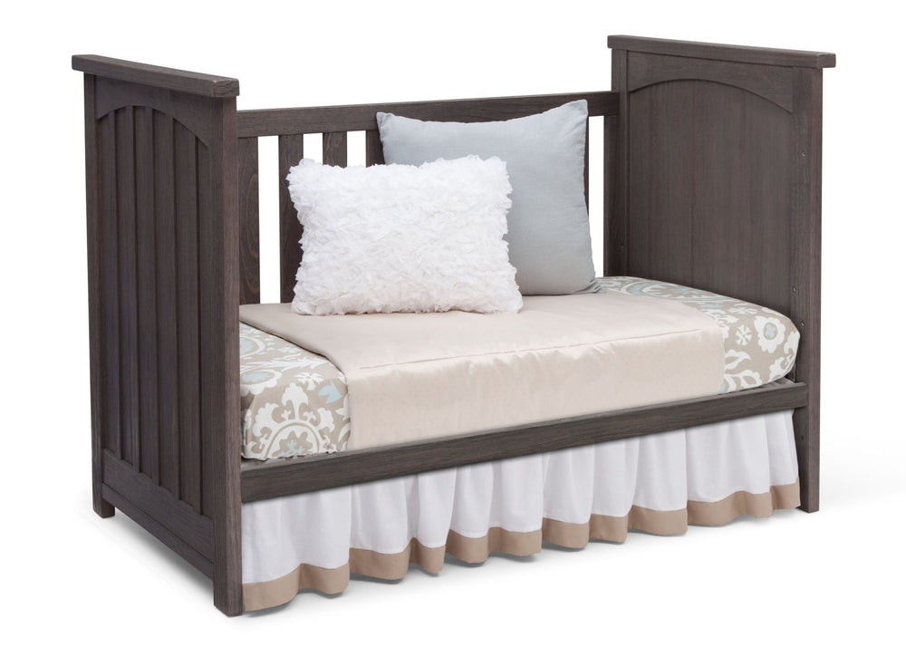 Serta Rustic Grey (084) Northbrook 3-in-1 Crib, Day Bed Conversion with Side View a5a