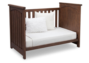 Serta Rustic Oak (229) Northbrook 3-in-1 Crib, Day Bed Conversion with Side View b5b