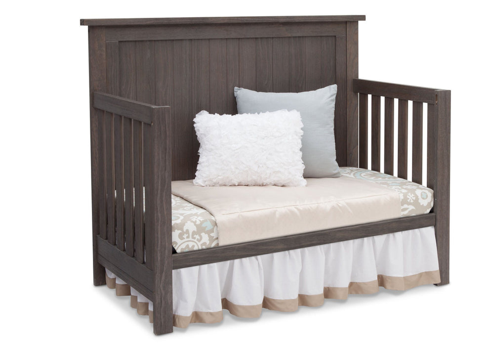 Serta Rustic Grey (084) Northbrook 4-in-1 Crib, Side View with Day Bed Conversion a4a