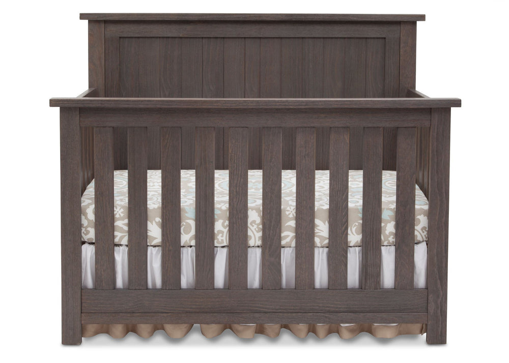 Serta Rustic Grey (084) Northbrook 4-in-1 Crib, Front View with Crib Conversion a1a