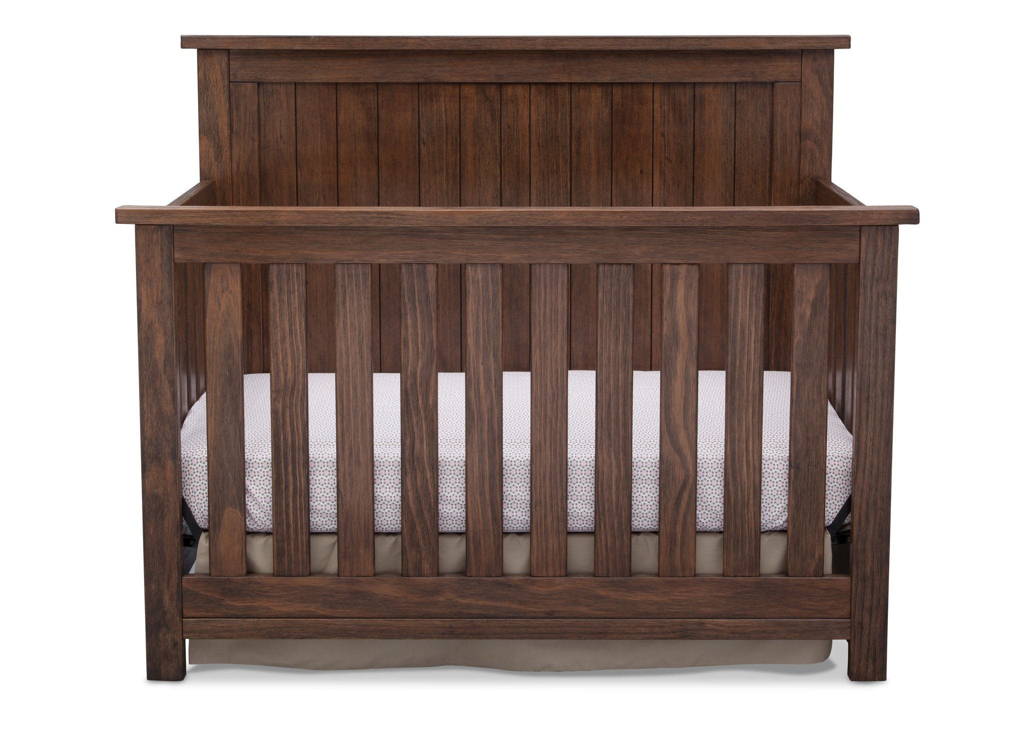 Serta Rustic Oak (229) Northbrook 4-in-1 Crib, Front View with Crib Conversion b3b