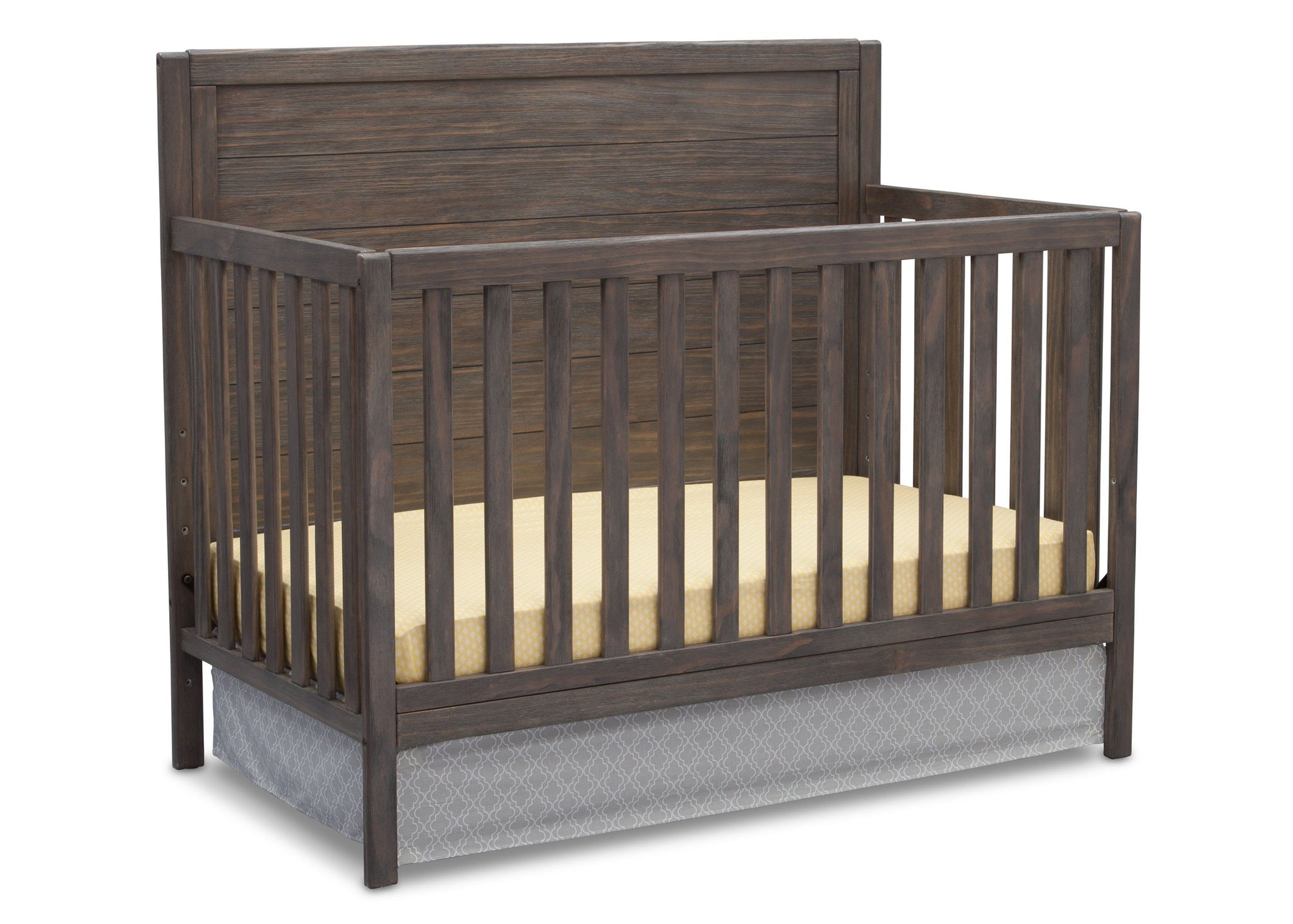 Serta Rustic Grey (084) Cambridge 4-in-1 Convertible Crib, Angled View a3a