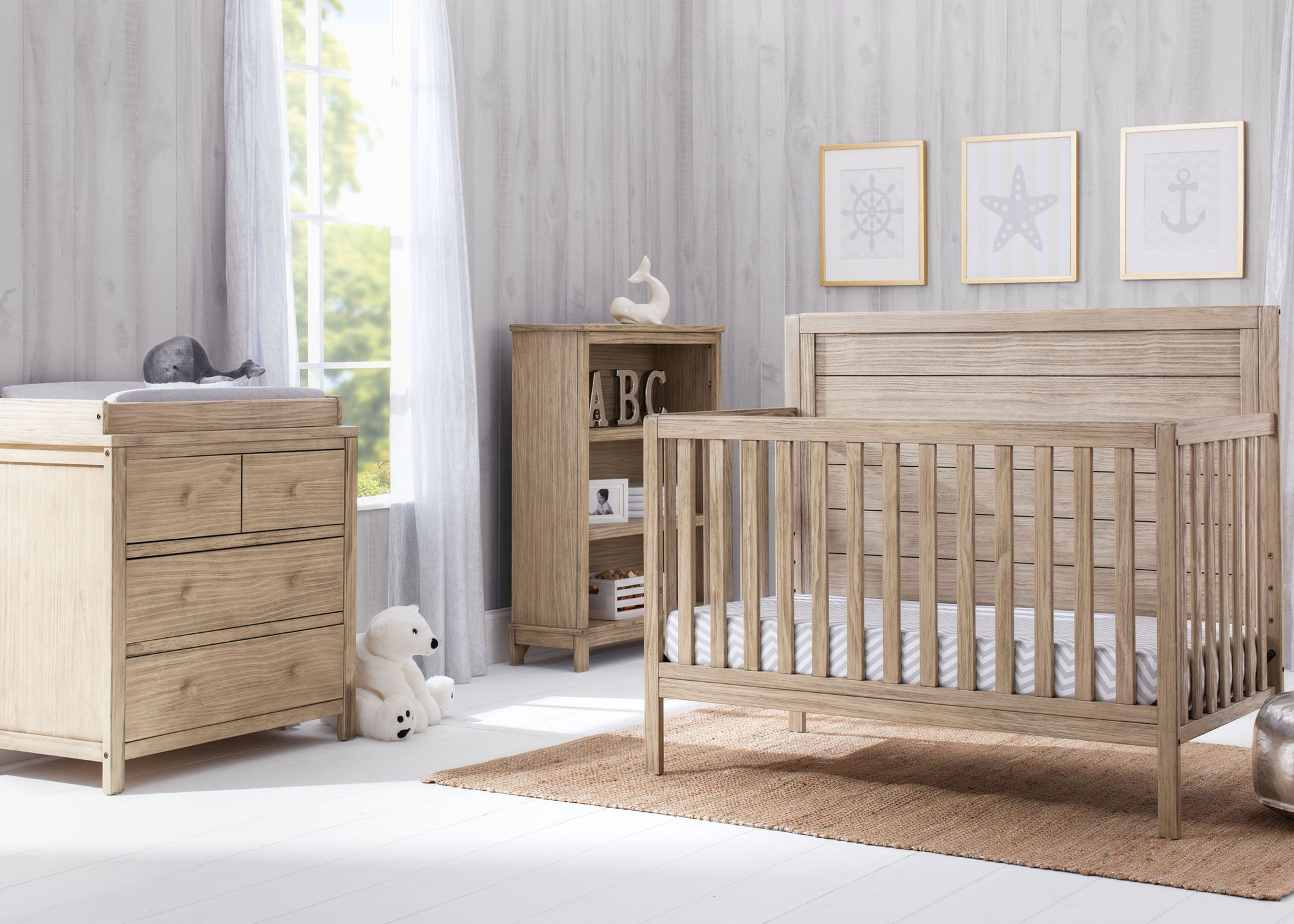 Serta Rustic Driftwood (112) Cambridge 4-in-1 Converible Crib, room View b3b