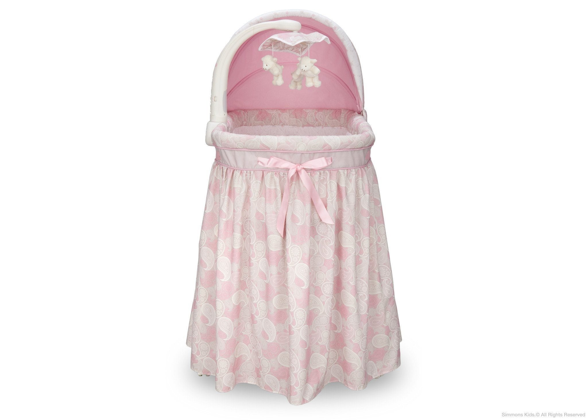 Simmons Kids Pink Paisley (670) Gliding Bassinet Front View a2a