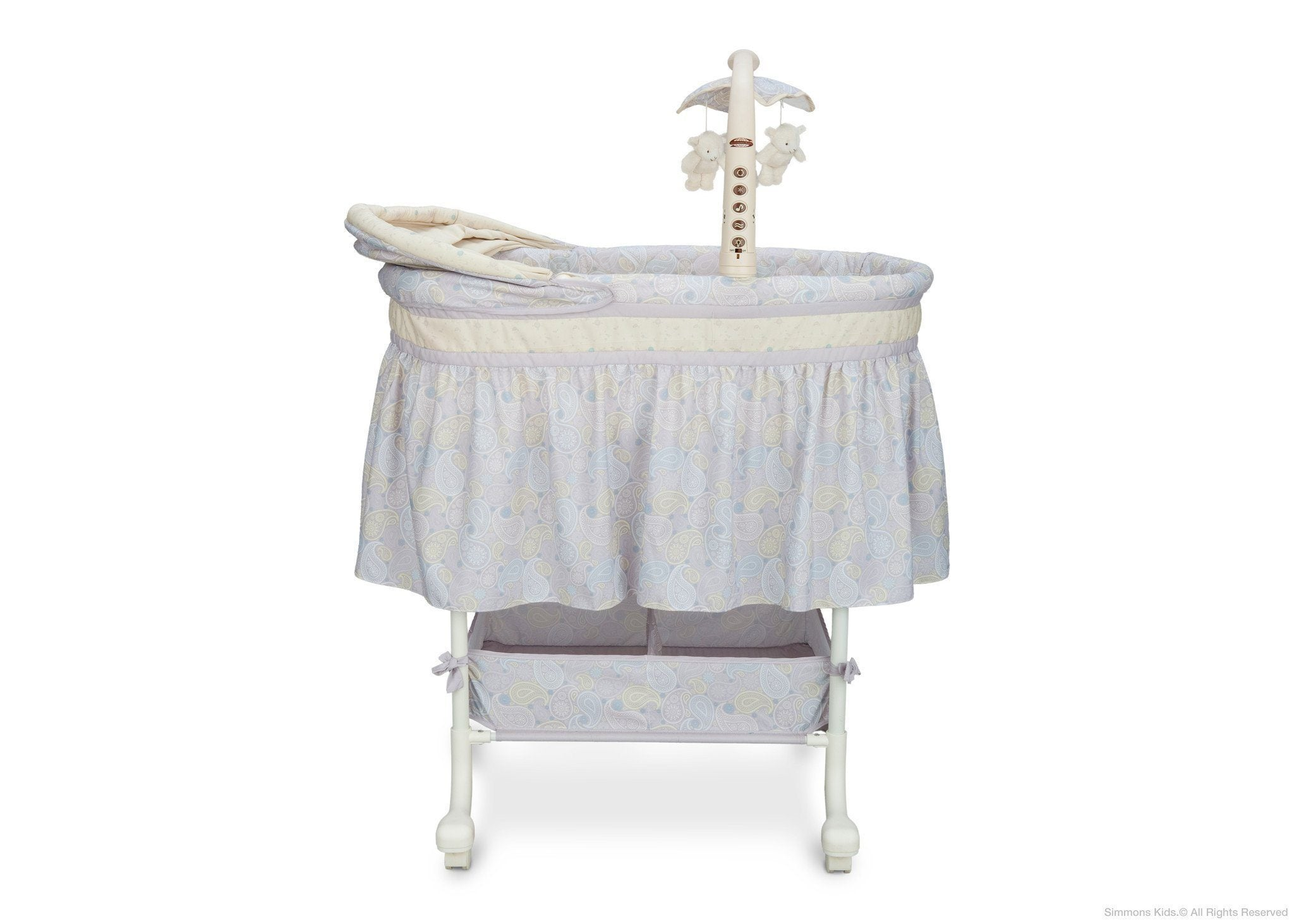 Simmons Kids Paisley Park (050) Deluxe Gliding Bassinet Full Side View a2a