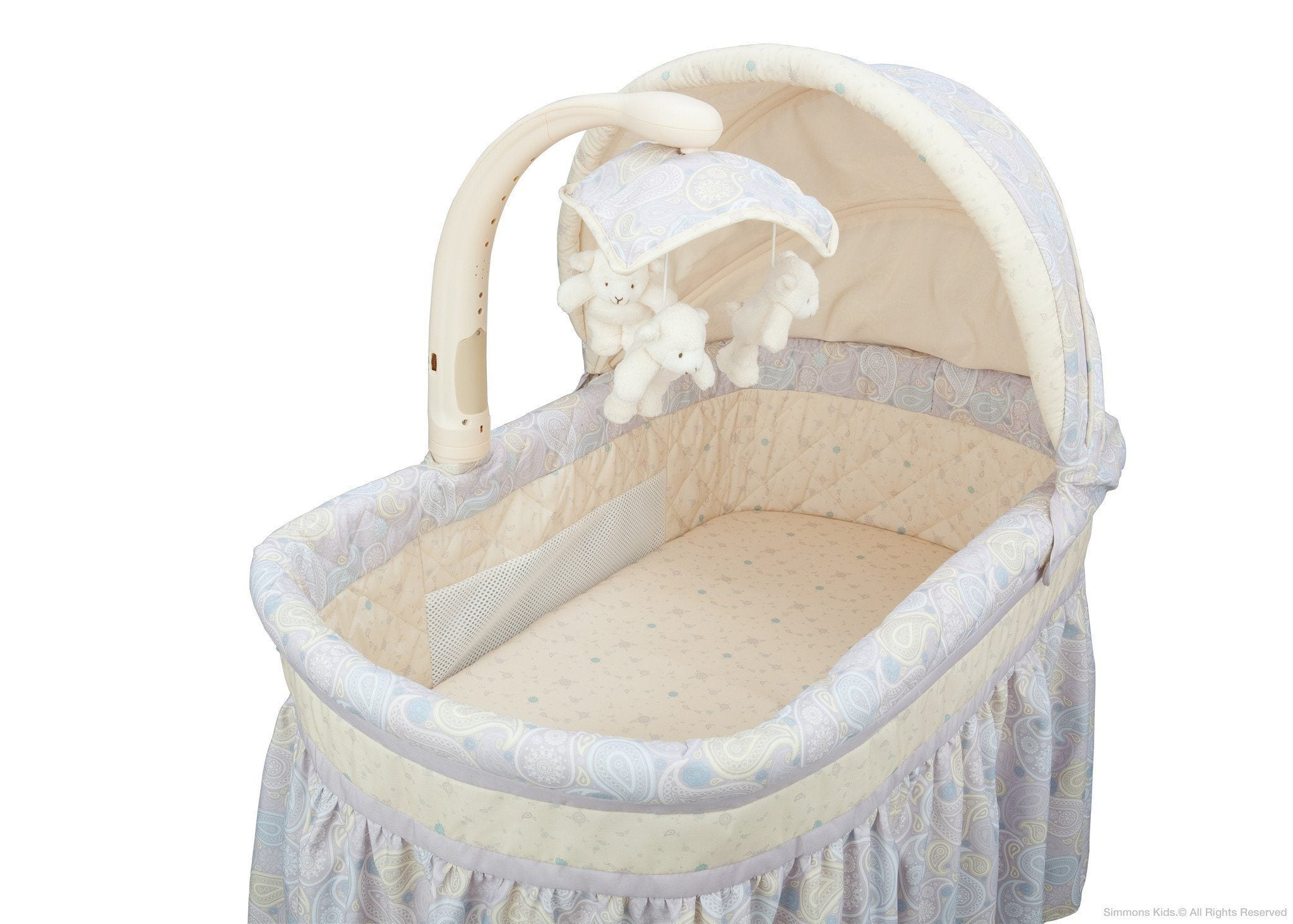 Simmons Kids Paisley Park (050) Deluxe Gliding Bassinet Inside View with Canopy Option a3a