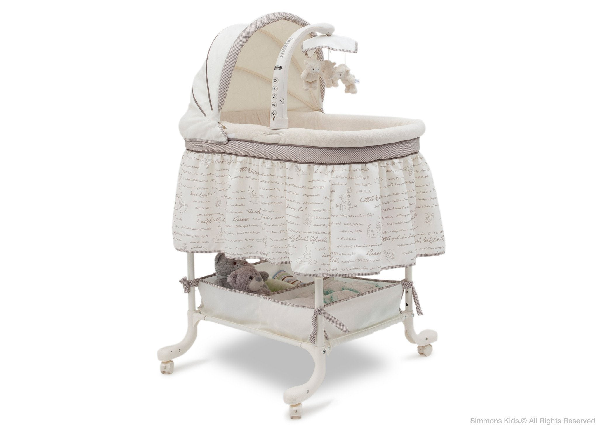 Simmons Kids Nursery Rhyme (172) Deluxe Gliding Bassinet Right View b1b