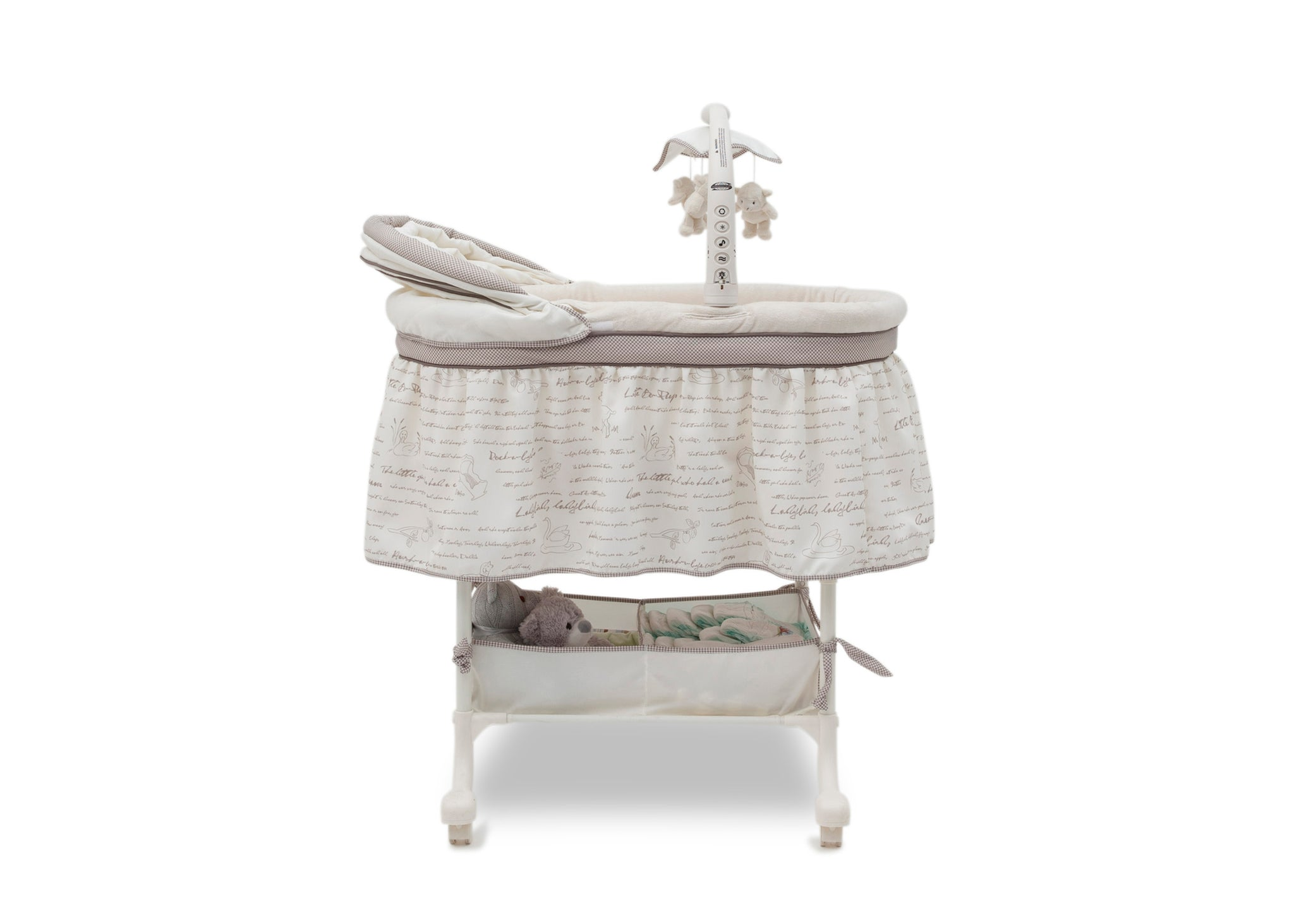 Simmons Kids Nursery Rhyme (172) Deluxe Gliding Bassinet, Side Silo View b3b