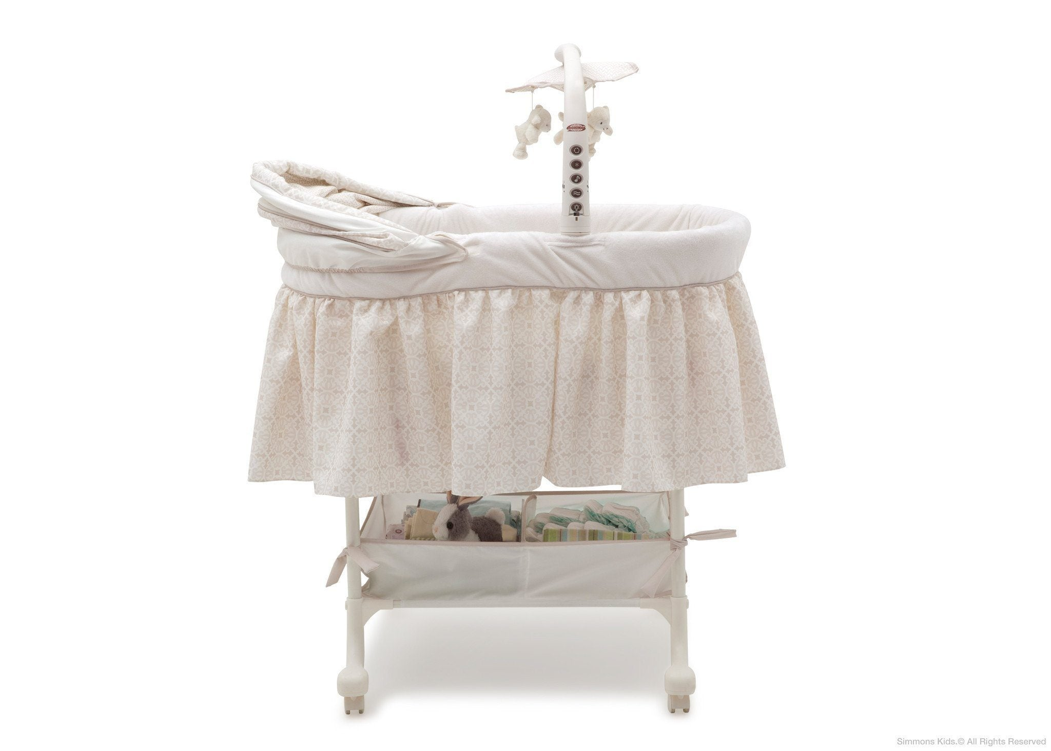 Simmons Kids Sandcastles (293) Deluxe Gliding Bassinet Full Side View with Canopy Detail c3c