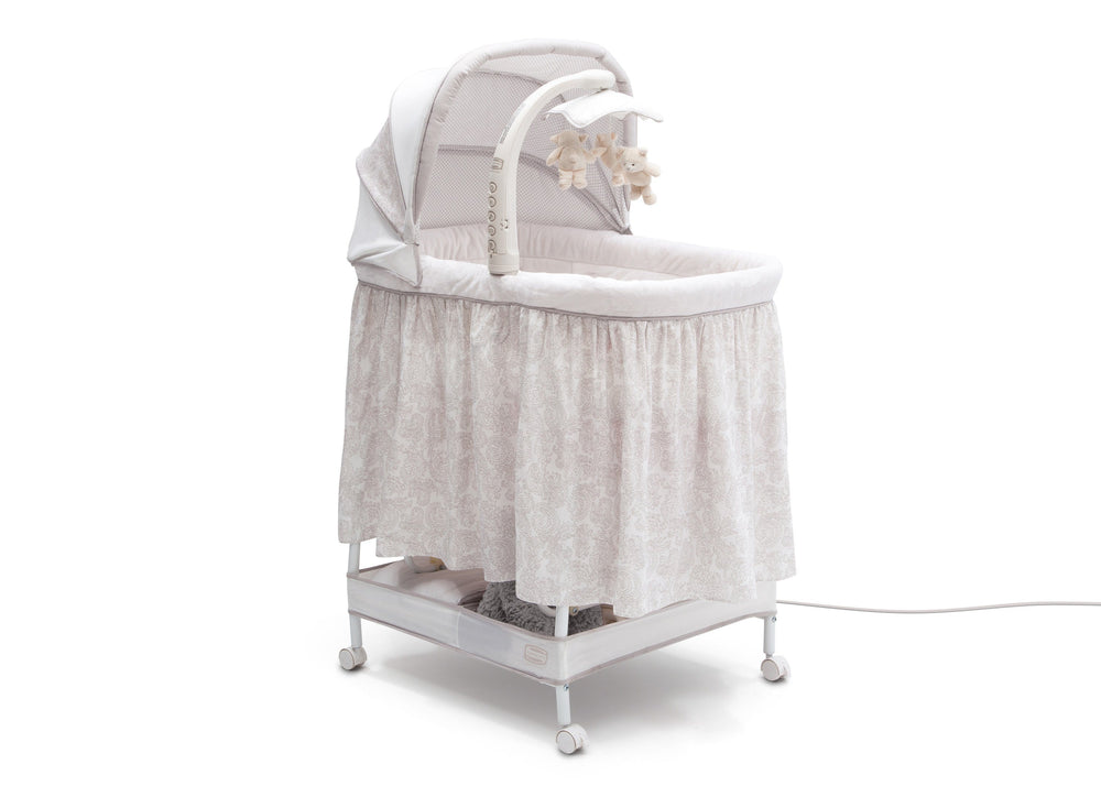 Simmons Kids® Embossed Paisley Silent Auto Gliding Deluxe Bassinet (701305-2282), Right Angle Closed, a2a
