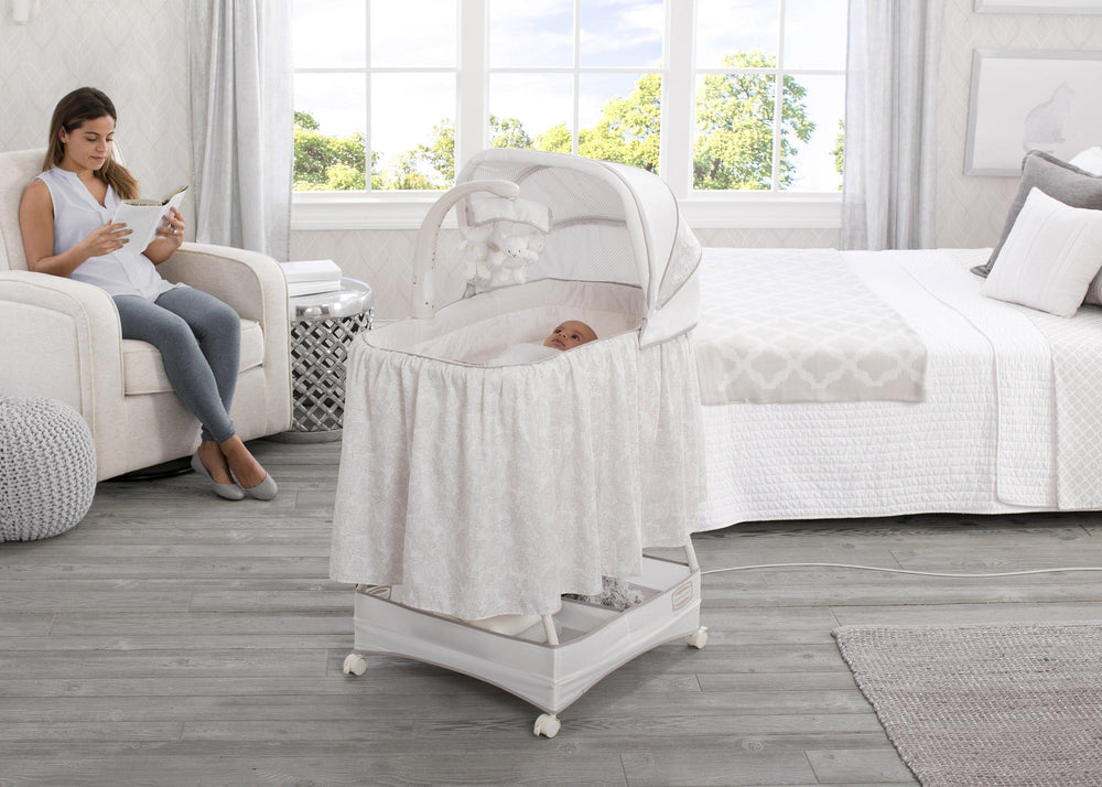 Simmons Kids® Embossed Paisley Silent Auto Gliding Deluxe Bassinet (701305-2282), Room, a1a