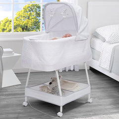 Simmons Kids Odyssey (2020) Silent Auto Gliding Elite Bassinet (701405) hangtag with model, a1a
