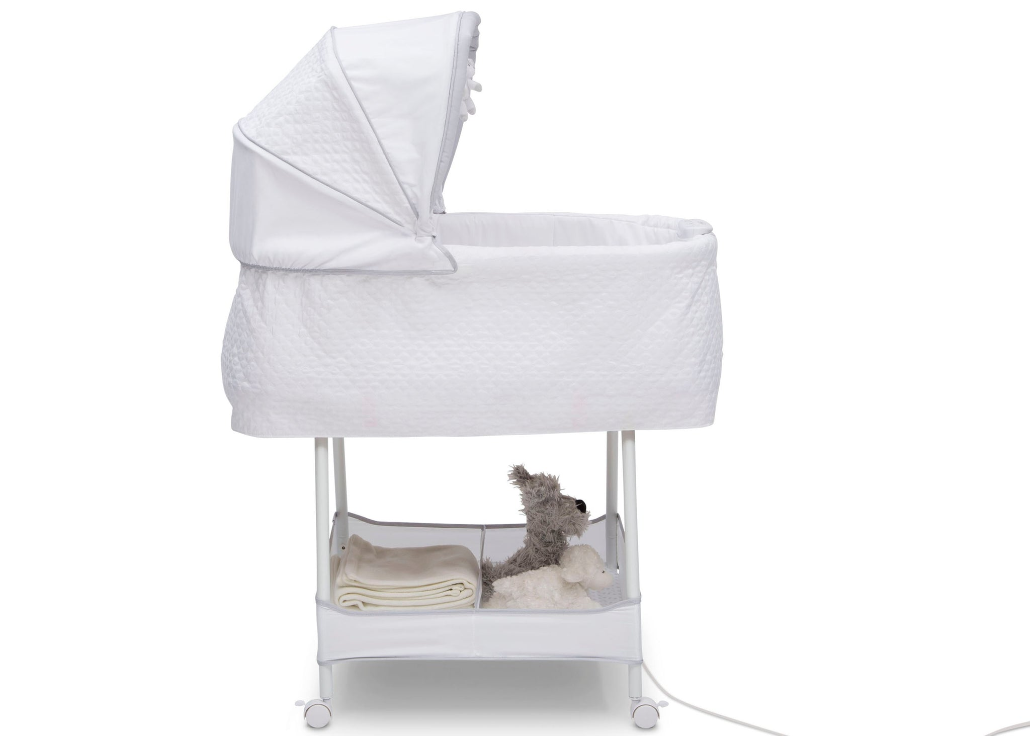 Simmons Kids Odyssey (2020) Silent Auto Gliding Elite Bassinet (701405) Side Profile, a5a
