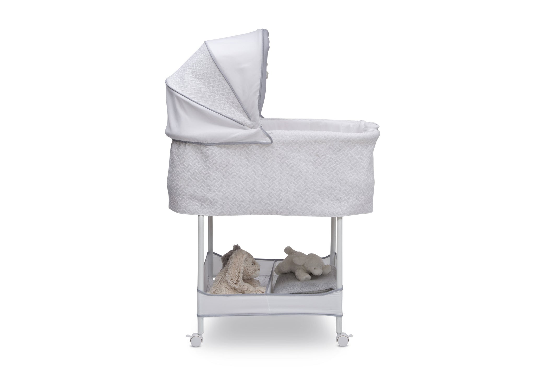 Simmons Kids Basketweave (2113) Silent Auto Gliding Elite Bassinet, Side Silo View