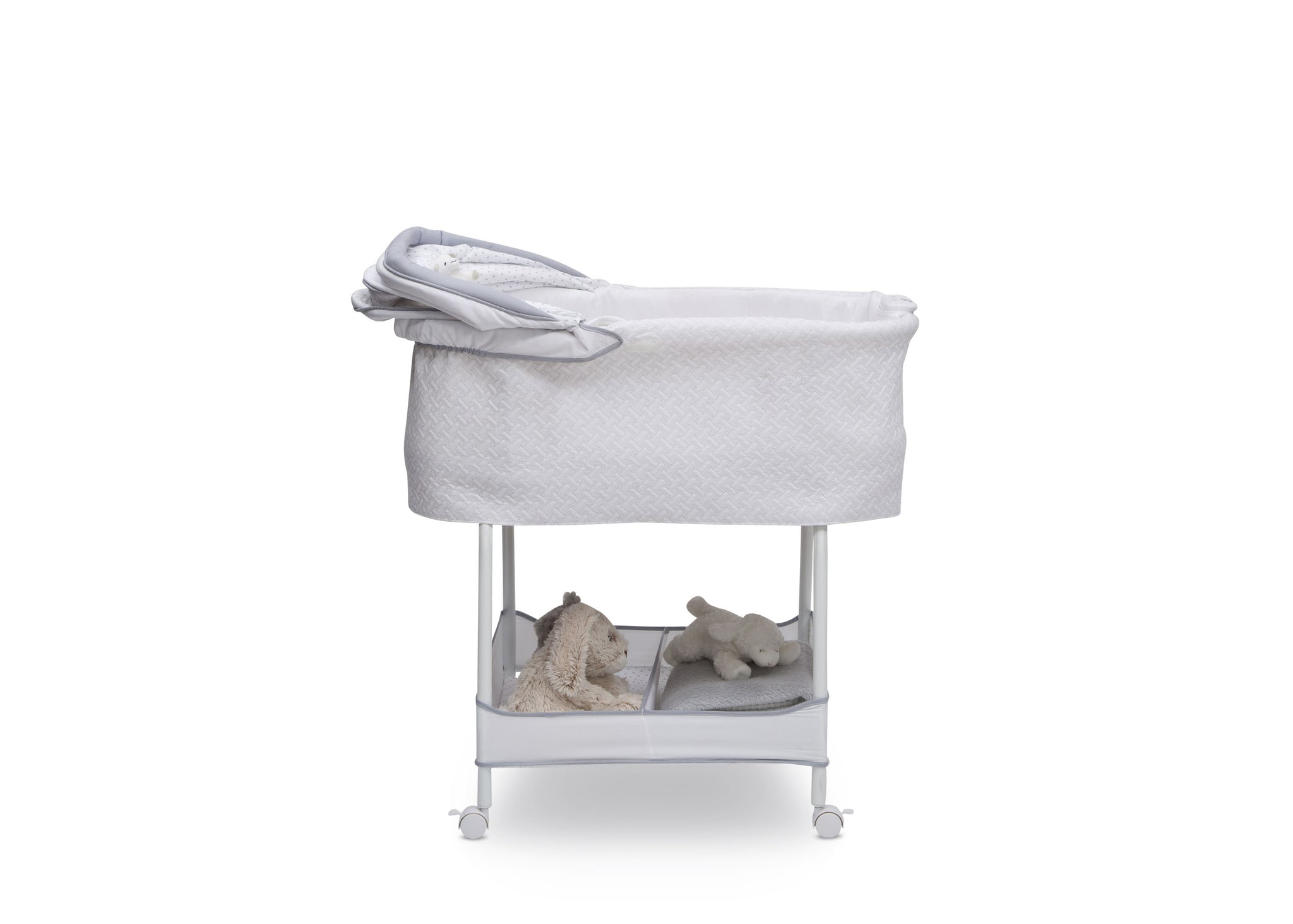 Simmons Kids Basketweave (2113) Silent Auto Gliding Elite Bassinet, Side Silo View with Canopy Down