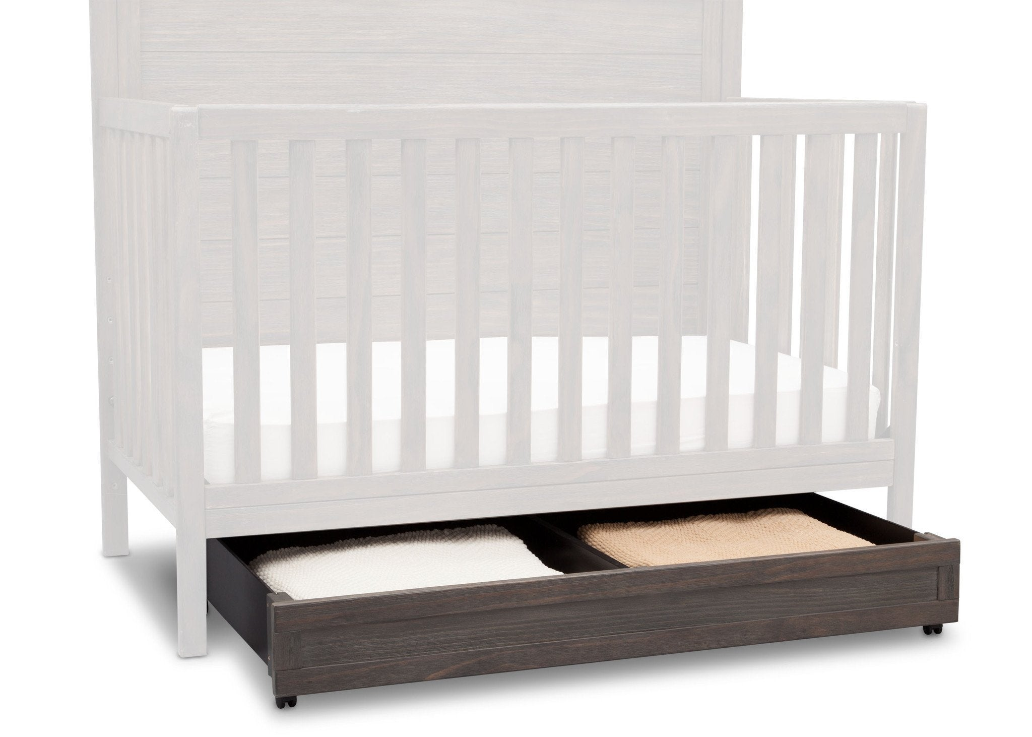 Delta Children Rustic Grey (084) Trundle Drawer under Crib with Props a2a