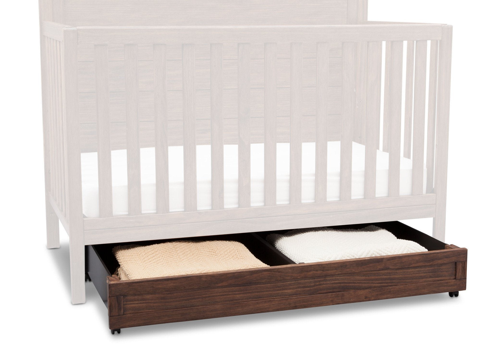 Delta Children Rustic Oak (229) Trundle Drawer under Crib with Props b2b