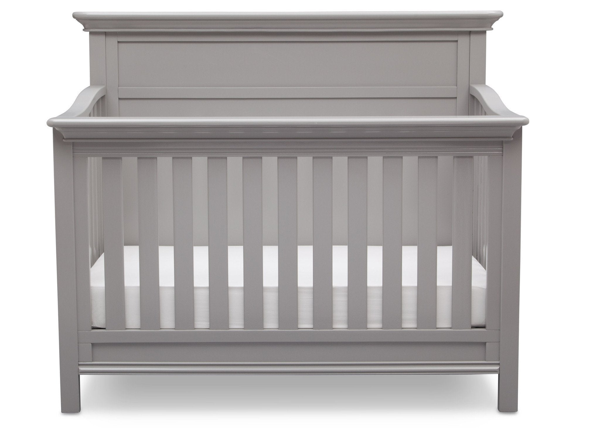 Serta Grey (026) Fairmount 4-in-1 Crib, Front View with Crib Conversion b3b