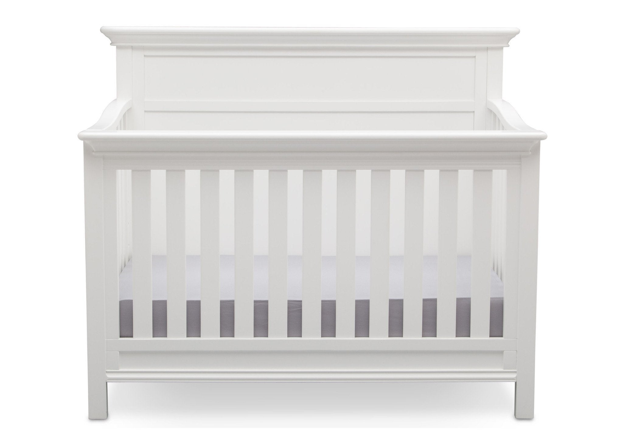 Serta Bianca White (130) Fairmount 4-in-1 Crib, Front View with Crib Conversion a3a