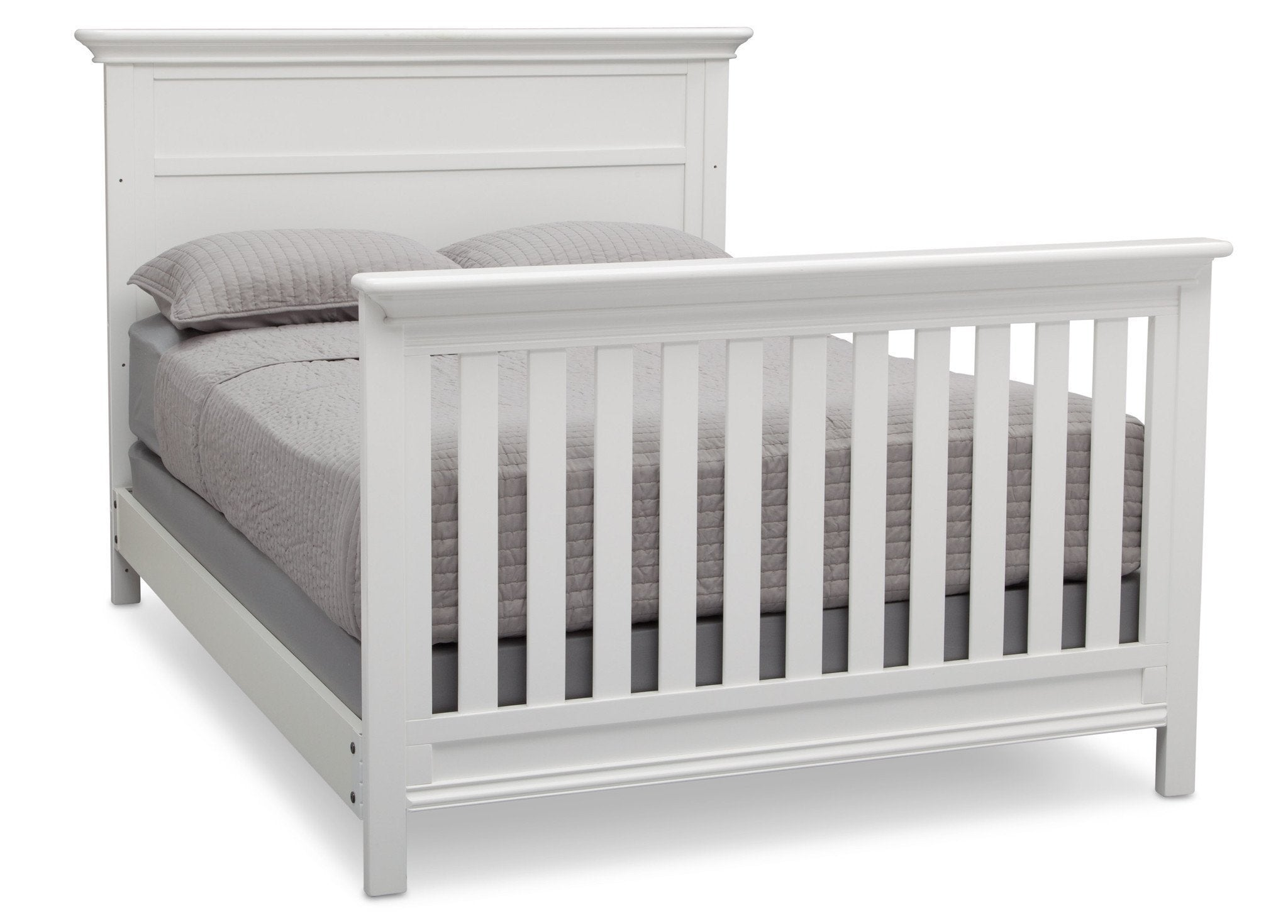 Serta Bianca White (130) Fairmount 4-in-1 Crib, Side View with Full Size Platform Bed Kit (for 4-in-1 Cribs) 700850 a7a