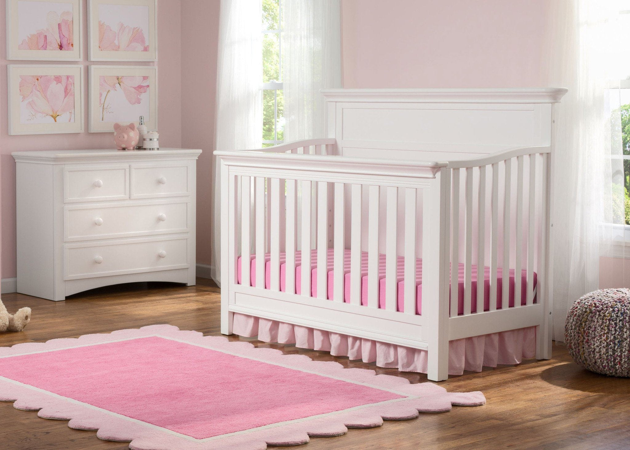 Serta Bianca White (130) Fairmount 4-in-1 Crib, Side View with Crib Conversion, Room View