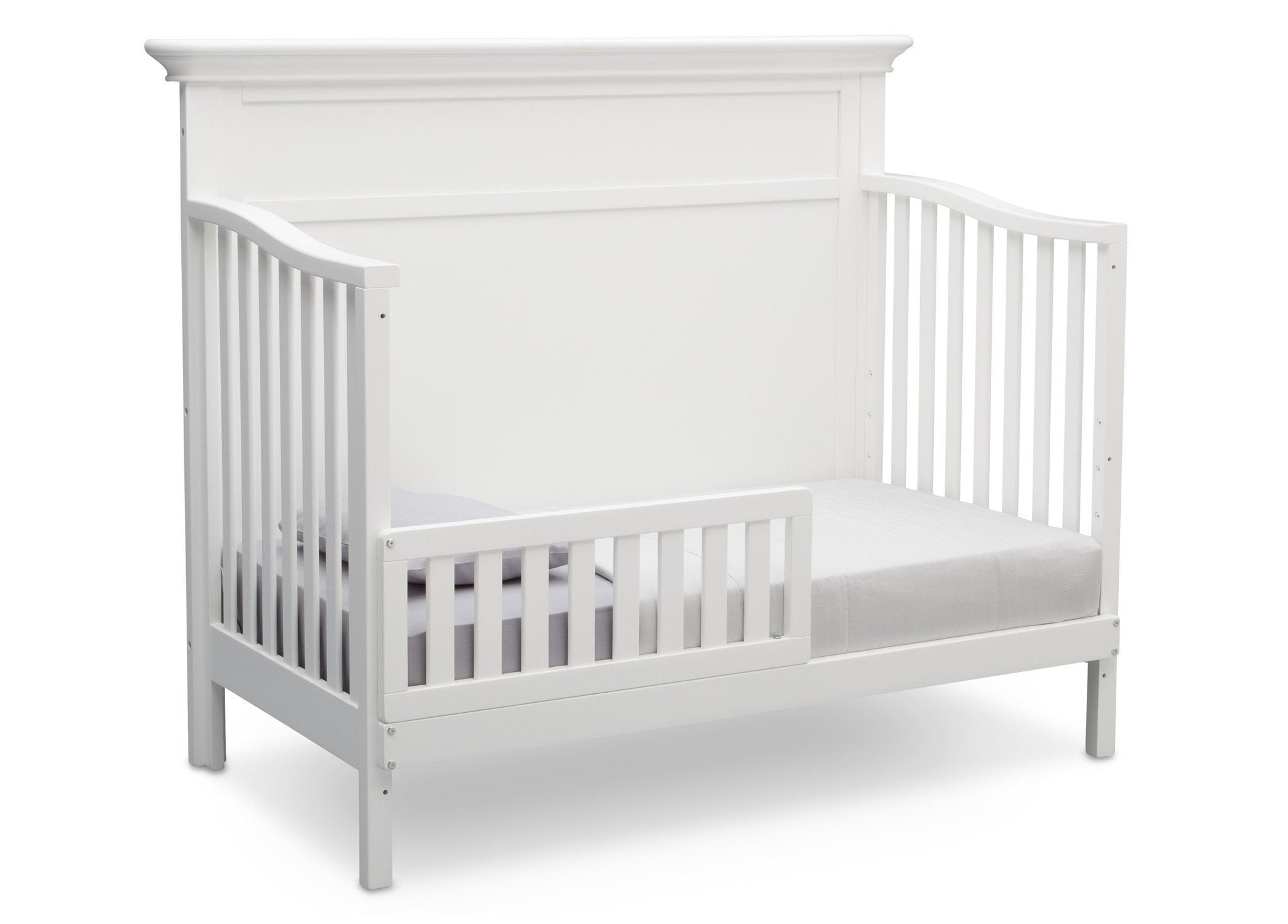 Serta Bianca White (130) Fairmount 4-in-1 Crib, Side View with Toddler Bed Conversion a5a