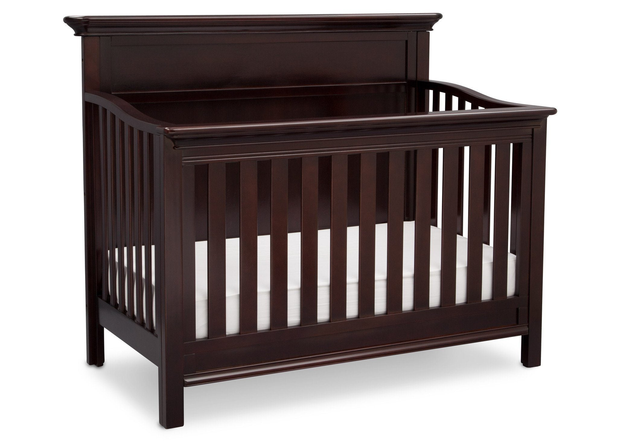Serta Dark Chocolate (207) Fairmount 4-in-1 Crib, Side View with Crib Conversion c4c