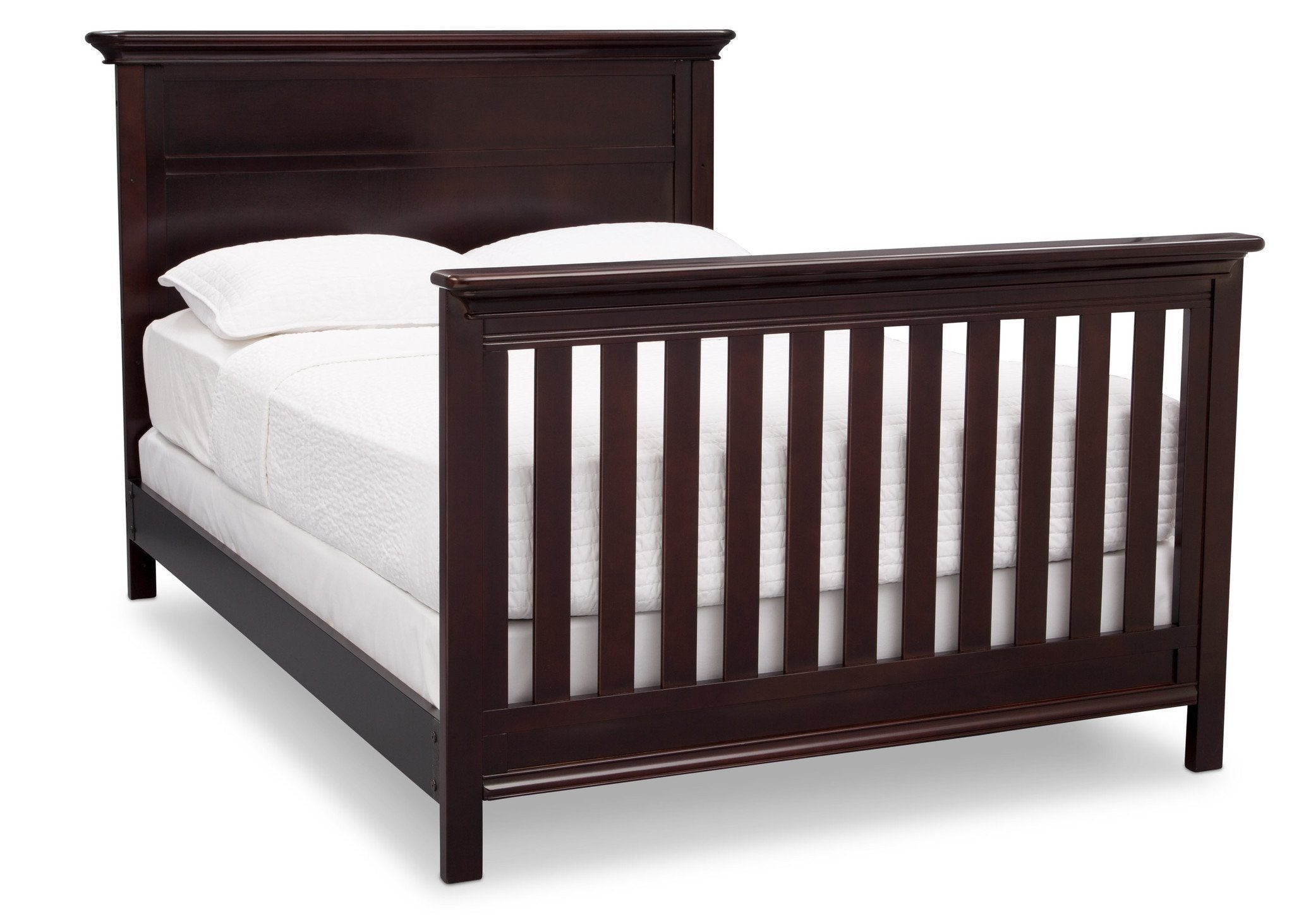 Serta Dark Chocolate (207) Fairmount 4-in-1 Crib, Side View with Full Size Platform Bed Kit (for 4-in-1 Cribs) 700850 c7c