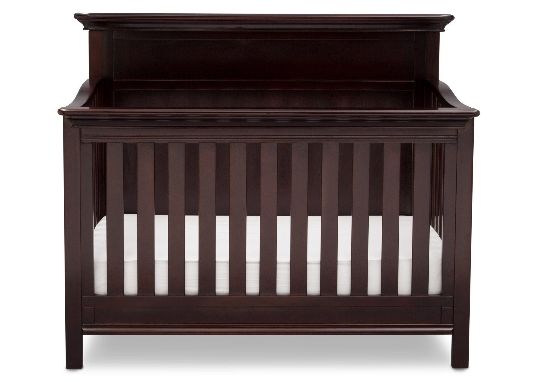 Serta Dark Chocolate (207) Fairmount 4-in-1 Crib, Front View with Crib Conversion c3c