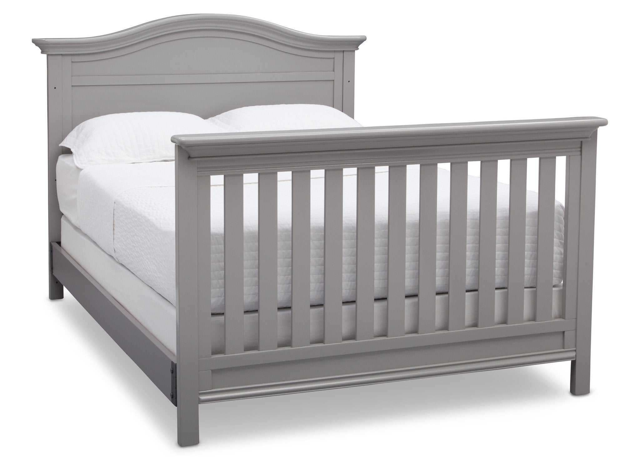 Serta Grey (026) Bethpage 4-in-1 Crib, Side View with Full Size Bed a7a