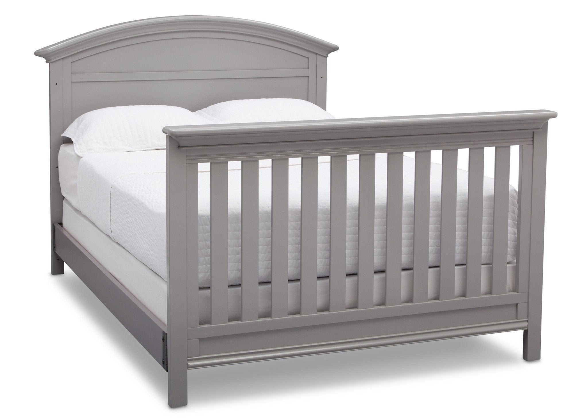 Serta Grey (026) Adelaide 4-in-1 Crib, Side View with Full Size Platform Bed Kit (for 4-in-1 Cribs) 700850 and Footboard a7a