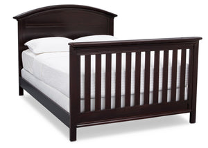 Serta Dark Chocolate (207) Adelaide 4-in-1 Crib, Side View with Full Size Platform Bed Kit (for 4-in-1 Cribs) 700850 and Footboard c7c