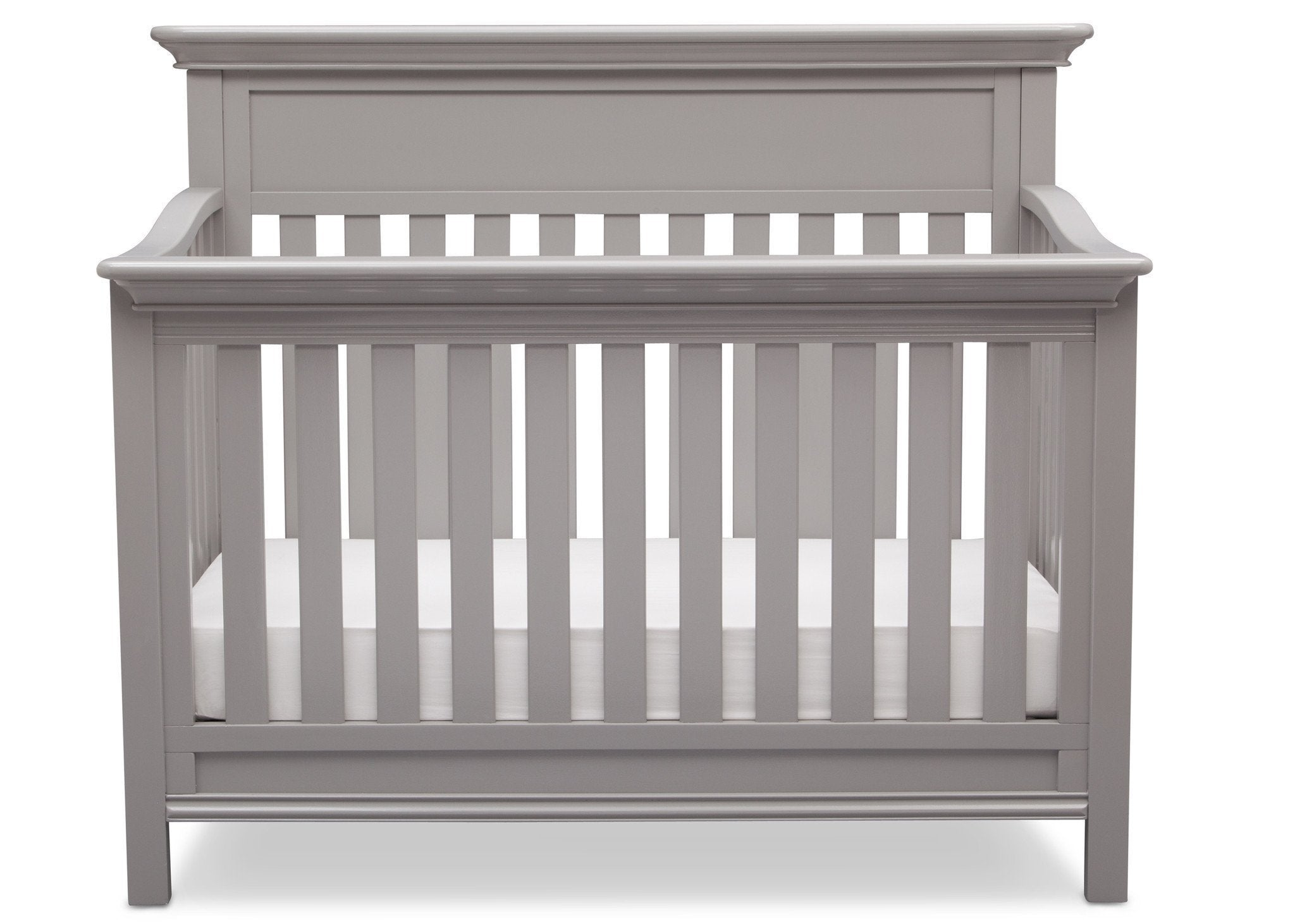 Serta Grey (026) Fernwood 4-in-1 Crib, Front View with Crib Conversion b3b