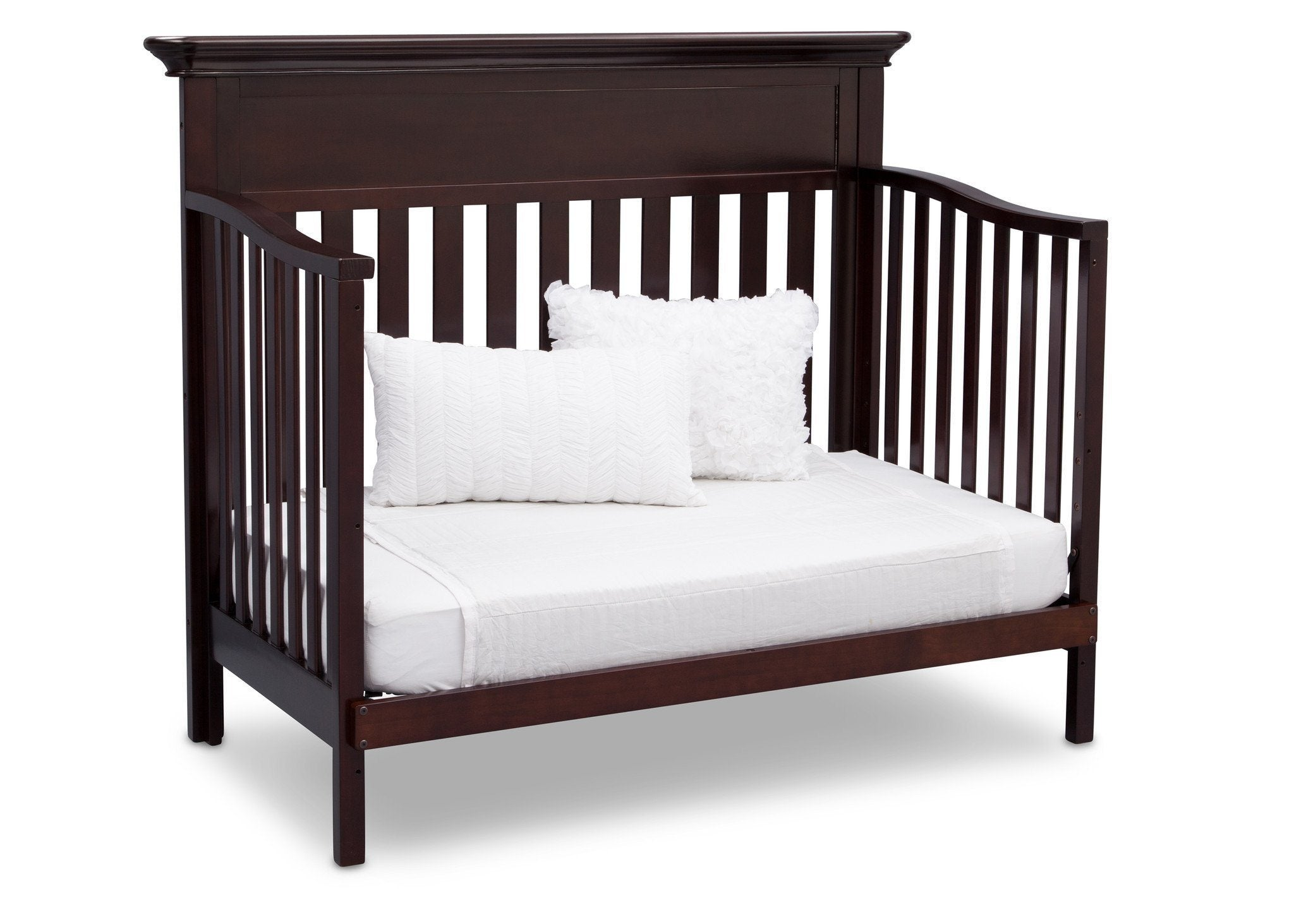 Serta Dark Chocolate (207) Fernwood 4-in-1 Crib, Side View with Day Bed Conversion c6c
