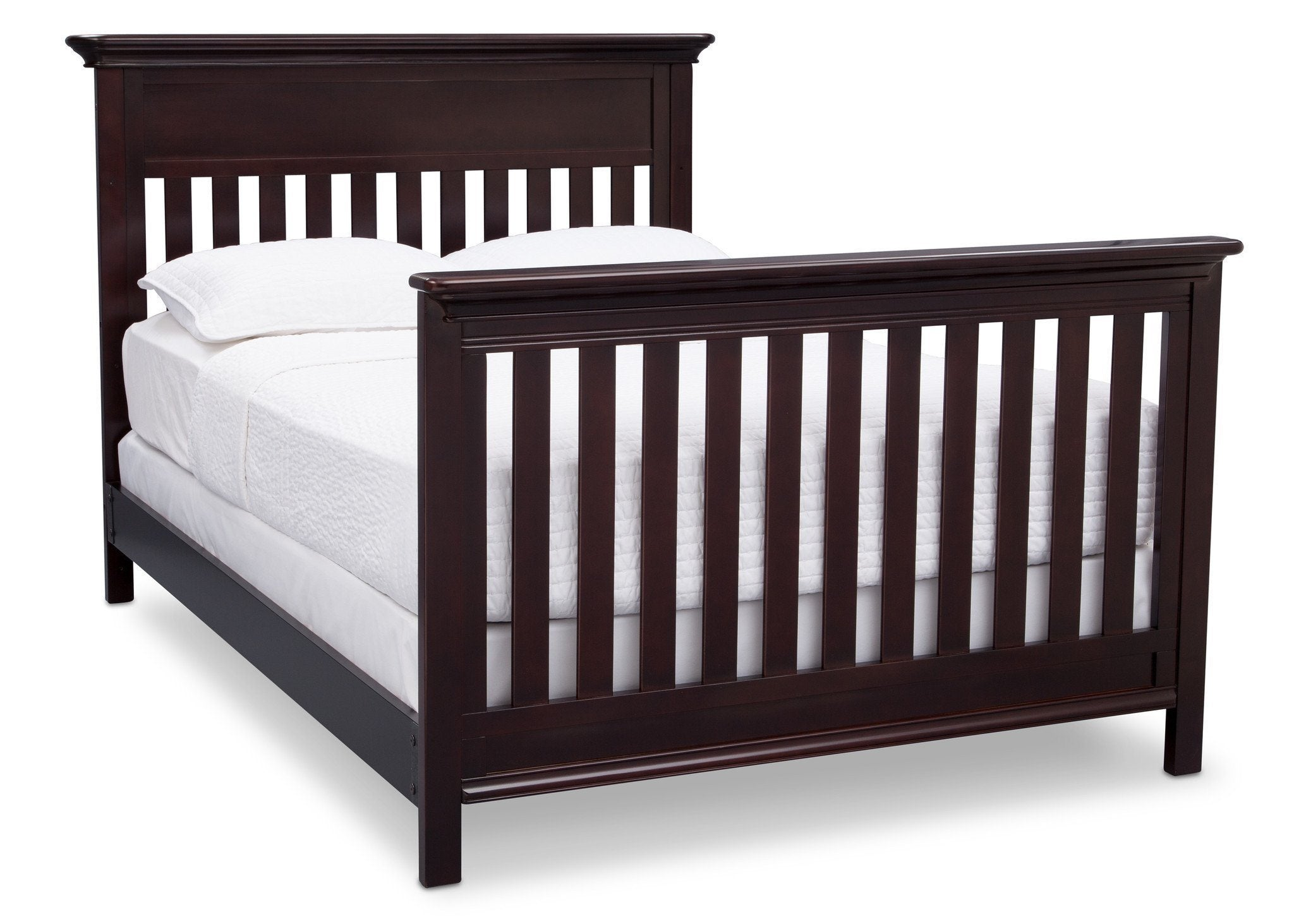 Serta Dark Chocolate (207) Fernwood 4-in-1 Crib, Side View with Full Size Platform Bed Kit (for 4-in-1 Cribs) 700850 c7c