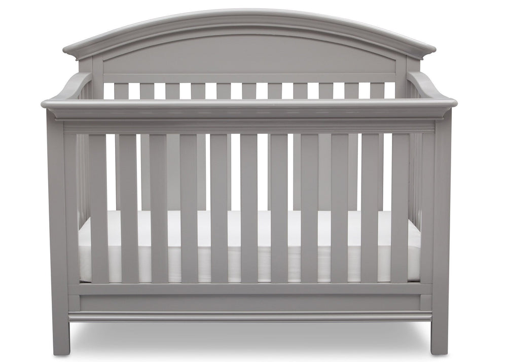 Serta Grey (026) Aberdeen 4-in-1 Crib, Front View with Crib Conversion a3a