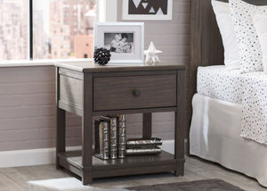 Delta Children Rustic Grey (084) Langston Nightstand with Drawer and Shelf, Hangtag, a1a